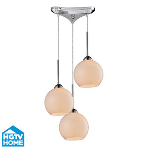 Cassandra Polished Chrome 9-Inch Three Light Pendant with White Glass Shade