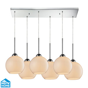 Cassandra Polished Chrome Six Light Pendant with White Glass Shade