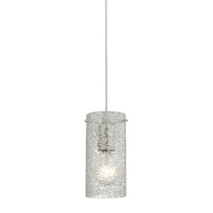 Ice Fragments Satin Nickel One-Light Mini Pendant with Clear Glass