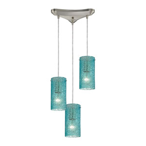 Ice Fragments Satin Nickel Three-Light Pendant with Aqua Glass