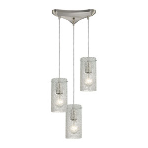 Ice Fragments Satin Nickel Three-Light Pendant with Clear Glass