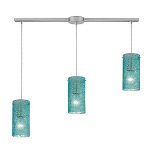 Ice Fragments Satin Nickel Three-Light Ascending Pendant with Aqua Glass