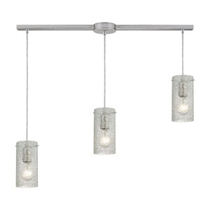 Ice Fragments Satin Nickel Three-Light Ascending Pendant with Clear Glass