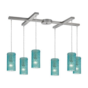 Ice Fragments Satin Nickel Six-Light Pendant with H Canopy and  Aqua Glass