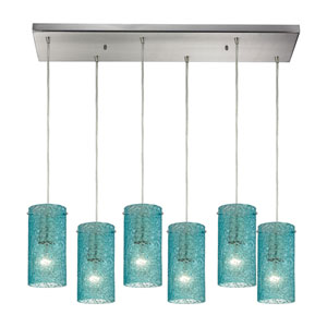 Ice Fragments Satin Nickel Six-Light Pendant with Aqua Glass