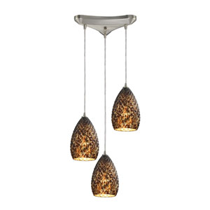 Geval Satin Nickel Three-Light Pendant with Burnt Caramel Glass