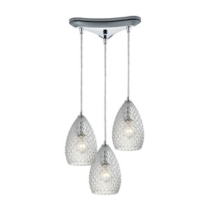 Geval Polished Chrome Three-Light Pendant with Clear Glass