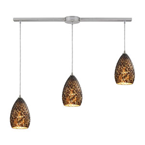 Geval Satin Nickel Three-Light Ascending Pendant with Burnt Caramel Glass