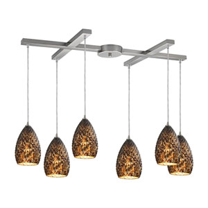 Geval Satin Nickel Six-Light Pendant with H Canopy and Burnt Caramel Glass