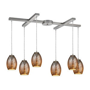 Venture Satin Nickel Six-Light Pendant with H Canopy
