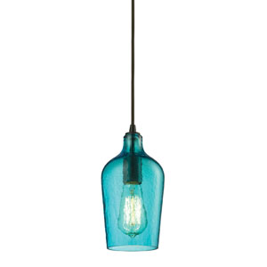 Hammered Aqua Glass Oil Rubbed Bronze One Light Mini Pendant
