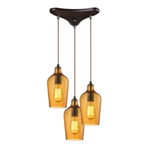 Hammered Amber Glass Oil Rubbed Bronze Three Light Chandelier