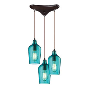 Hammered Aqua Glass Oil Rubbed Bronze Three Light Chandelier