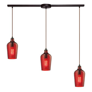 Hammered Oil Rubbed Bronze Three Light Chandelier with Hammered Red Glass