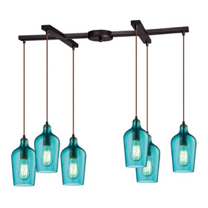 Hammered Aqua Glass Oil Rubbed Bronze Six Light Chandelier