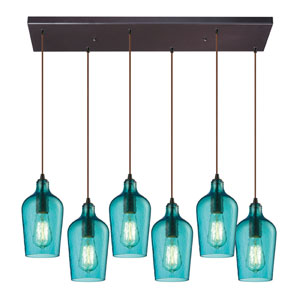 Hammered Aqua Glass Oil Rubbed Bronze 10-Inch Six Light Chandelier