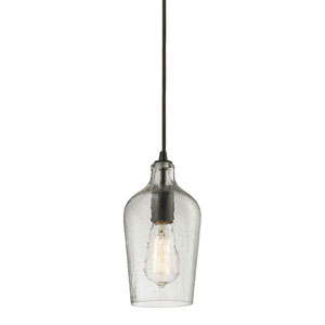 Hammered Glass Oil Rubbed Bronze 10-Inch One Light Mini Pendant