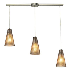 Ribbed Glass Satin Nickel Three Light Chandelier
