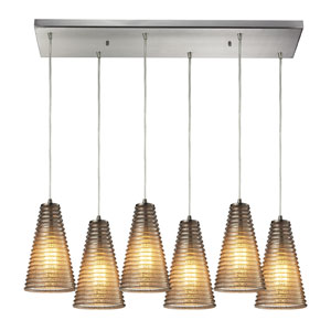 Ribbed Glass Satin Nickel Six Light Chandelier