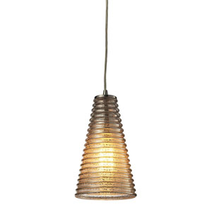 Ribbed Glass Satin Nickel One Light Mini Pendant