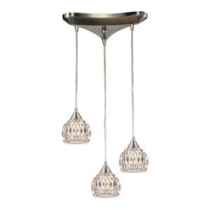 Kersey Satin Nickel 10-Inch Three Light Chandelier