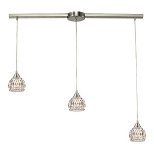 Kersey Satin Nickel Three Light Chandelier with Crystal Glass