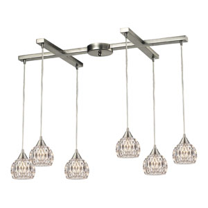 Kersey Satin Nickel 33-Inch Six Light Chandelier