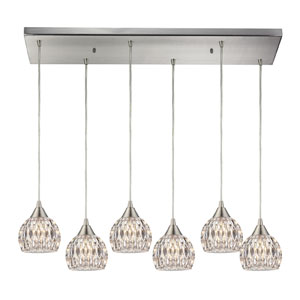 Kersey Satin Nickel Six Light Chandelier with Crystal Glass