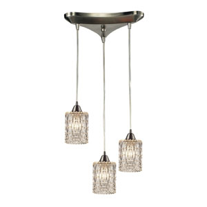 Kersey Satin Nickel Three Light Chandelier with Brilliantly Refract Light