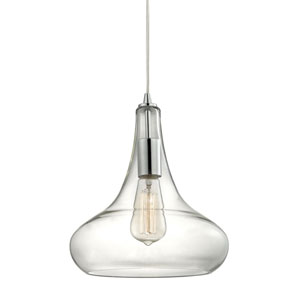 Orbital Polished Chrome One-Light Pendant with Clear Glass