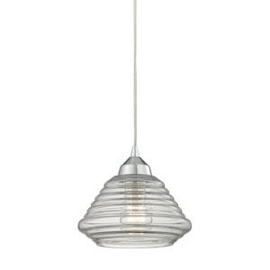 Orbital Polished Chrome One-Light Pendant with Ribbed Glass