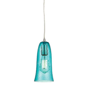 Hammered Glass Satin Nickel One-Light Mini Pendant with Hammered Aqua Glass