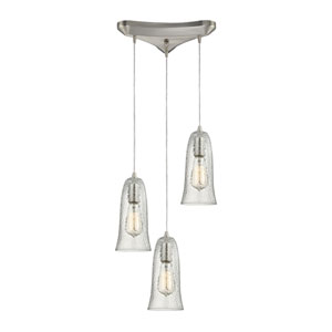 Hammered Glass Satin Nickel Three-Light Pendant with Hammered Clear Glass