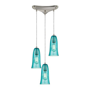 Hammered Glass Satin Nickel Three-Light Pendant with Hammered Aqua Glass
