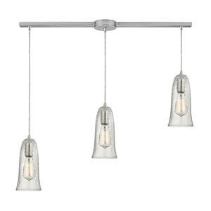 Hammered Glass Satin Nickel Three-Light Ascending Pendant with Clear Glass