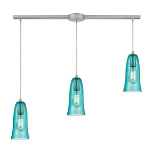 Hammered Glass Satin Nickel Three-Light Ascending Pendant with Aqua Glass