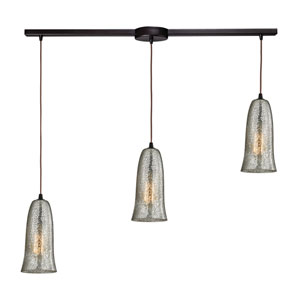 Hammered Glass Oil Rubbed Bronze Three-Light Pendant with Mercury Glass