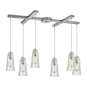 Hammered Glass Satin Nickel Six-Light Pendant with H Canopy and Clear Glass