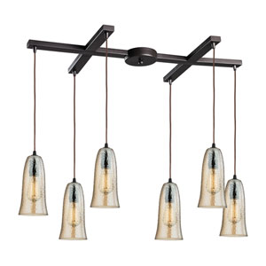 Hammered Glass Oil Rubbed Bronze Six-Light Pendant with Amber Glass, H Canopy