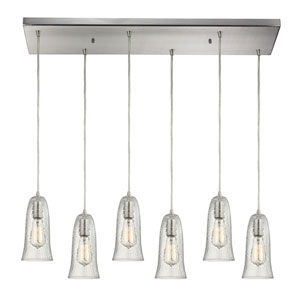 Hammered Glass Satin Nickel Six-Light Pendant with Hammered Clear Glass
