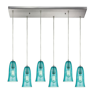 Hammered Glass Satin Nickel Six-Light Pendant with Hammered Aqua Glass