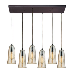 Hammered Glass Oil Rubbed Bronze Six-Light Pendant with Amber Plated Glass