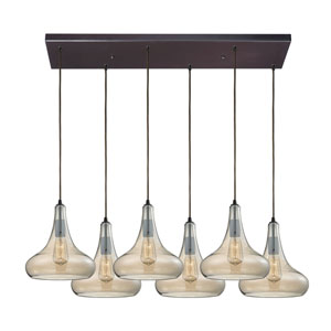 Orbital Oil Rubbed Bronze Six-Light Pendant with Tinted Glass