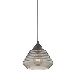 Orbital Oil Rubbed Bronze One-Light Pendant with Ribbed Glass
