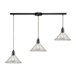 Hand Formed Glass Oil Rubbed Bronze Three-Light Linear Pendant
