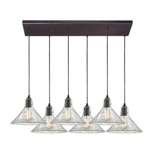 Hand Formed Glass Oil Rubbed Bronze Six-Light Pendant