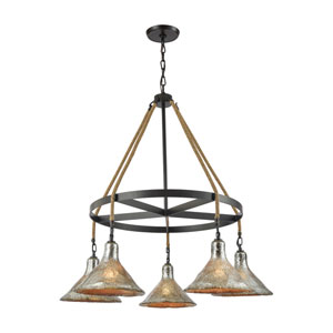 Hand Formed Glass Oil Rubbed Bronze 36-Inch Five-Light Chandelier