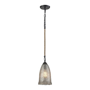 Hand Formed Glass Oil Rubbed Bronze 7-Inch One-Light Mini Pendant