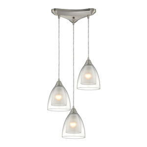 Layers Satin Nickel Three-Light Pendant with Clear Glass