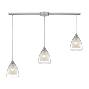 Layers Satin Nickel Three-Light Linear Pendant with Clear Glass